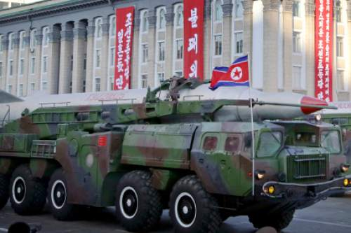 In this Saturday, Oct. 10, 2015, photo, what is believed to be an improved version of the KN-08 ballistic missile is paraded in Pyongyang, North Korea, during the 70th anniversary celebrations of its ruling party's creation. Pyongyang has long claimed it has the right to develop nuclear weapons to defend itself against the U.S., an established nuclear power with whom it has been in a state of war for more than 65 years. But to build a credible nuclear threat, the North must explode new nuclear devices — including miniaturized ones — so its scientists can improve their designs and technology. (AP Photo/Wong Maye-E)
