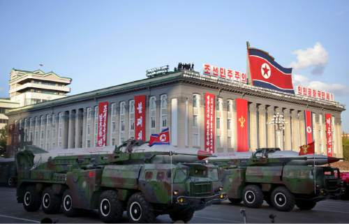 In this Saturday, Oct. 10, 2015, photo, what is believed to be improved versions of the KN-08 ballistic missile are paraded in Pyongyang, North Korea, during the 70th anniversary celebrations of its ruling party's creation. Pyongyang has long claimed it has the right to develop nuclear weapons to defend itself against the U.S., an established nuclear power with whom it has been in a state of war for more than 65 years. But to build a credible nuclear threat, the North must explode new nuclear devices — including miniaturized ones — so its scientists can improve their designs and technology. (AP Photo/Wong Maye-E)