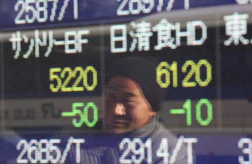 A man looks at an electronic stock board of a securities firm in Tokyo, Thursday, Jan. 7, 2016. Chinese stocks nose dived on Thursday, triggering the second daylong trading halt of the week and sending share markets, currencies and oil prices lower as investor jitters rippled across Asia.(AP Photo/Eugene Hoshiko)