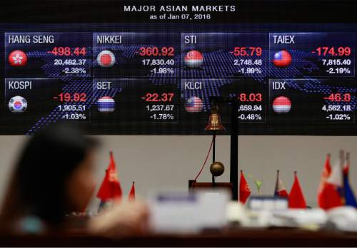 A Filipino trader stands in front of the electronic board showing some Asian markets during the morning trading at the Philippine Stock Exchange in Makati, south of Manila, Philippines Thursday, Jan. 7, 2016. Chinese stocks nosedived on Thursday, triggering the second daylong trading halt of the week and sending other Asian markets sharply lower as investor jitters rippled across the region. (AP Photo/Aaron Favila)