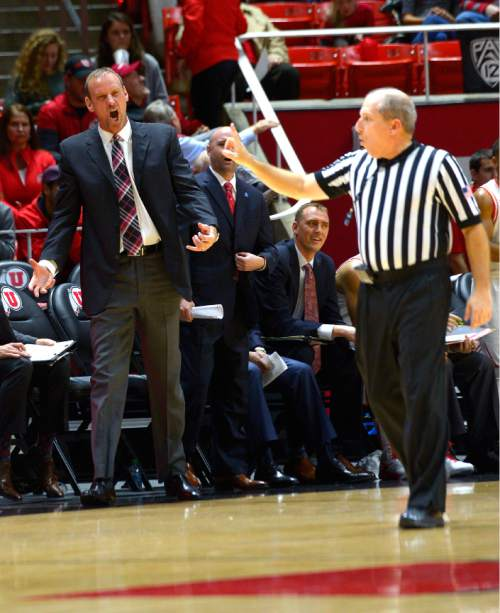 Leah Hogsten  |  The Salt Lake Tribune Utah Utes head coach Larry Krystkowiak disagrees with a call. University of Utah leads Delaware State, 52-26 at the Jon M. Huntsman Center, Tuesday December 22, 2015.