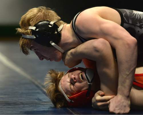 Steve Griffin     The Salt Lake Tribune  Maple Mountain's Taylor LaMont pins American Fork's Cameron Hunsaker during a featured match in the Simplii All-Star Dual, a premier preseason wrestling tournament, at Utah Valley University in Orem, Tuesday, January 5, 2016.