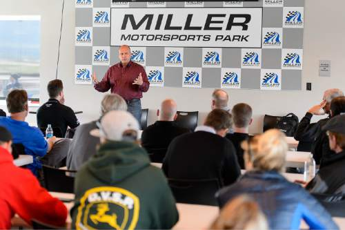 Trent Nelson  |  The Salt Lake Tribune Tooele County Commissioner Shawn Milne meets with business owners who rely on the Miller Motorsports Park, Saturday May 23, 2015.