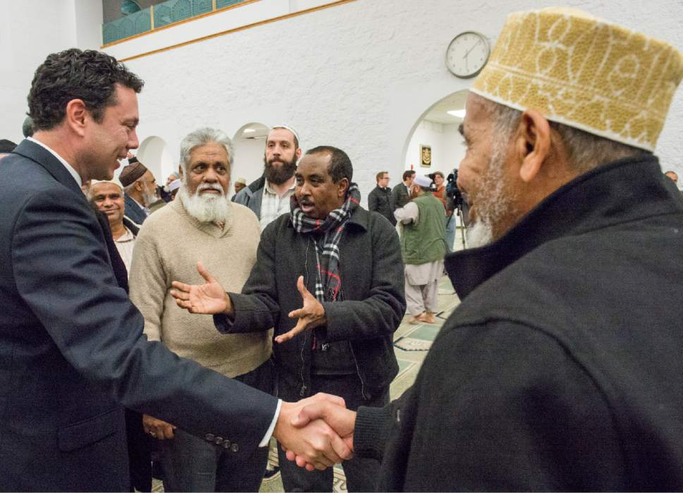 Rick Egan  |  The Salt Lake Tribune  Rep. Jason Chaffetz visit with Utah Muslims at the Khadeeja Islamic Center, Monday, December 14, 2015.