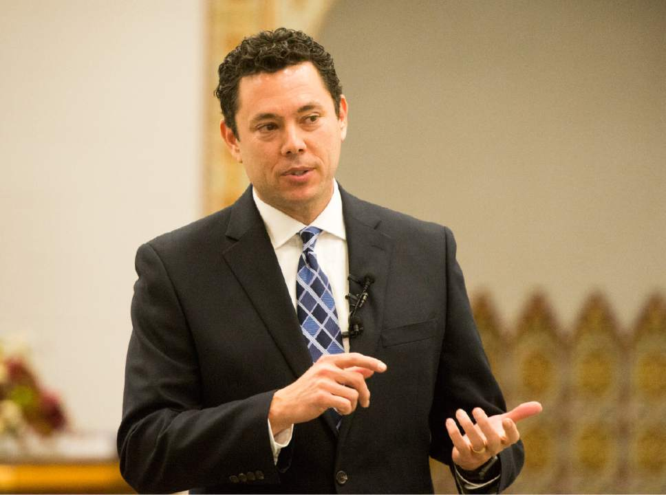 Rick Egan  |  Tribune file photo Rep. Jason Chaffetz, R-Utah, talking with Utah Muslims in December 2015, pledges to use his leadership of the House Oversight and Government Reform Committee to keep a President Donald Trump in check.