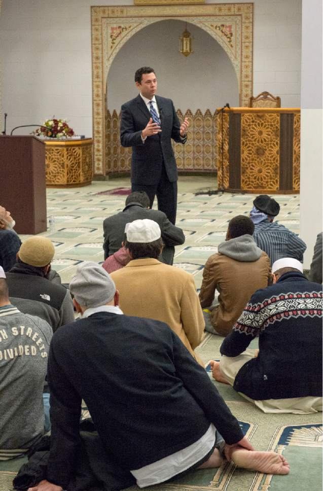 Rick Egan  |  The Salt Lake Tribune  Rep. Jason Chaffetz talks with Utah Muslims at the Khadeeja Islamic Center, Monday, December 14, 2015.