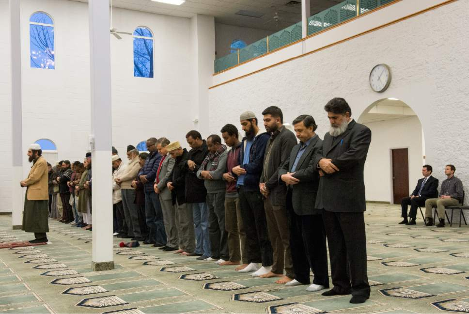 Rick Egan  |  The Salt Lake Tribune  Imaam Muhammed S. Mehtar leads the prayer at the Khadeeja Islamic Center, as  Rep. Jason Chaffetz and his son Max (right) observe, Monday, December 14, 2015.