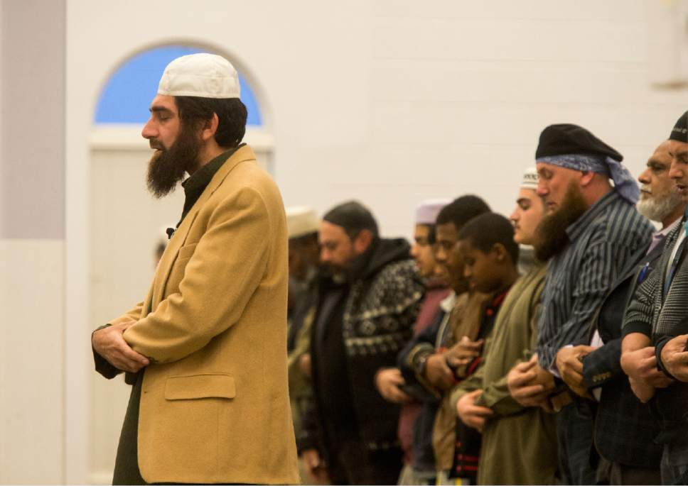 Rick Egan  |  The Salt Lake Tribune  Imaam Muhammed S. Mehtar leads the prayer at the Khadeeja Islamic Center, Monday, December 14, 2015.