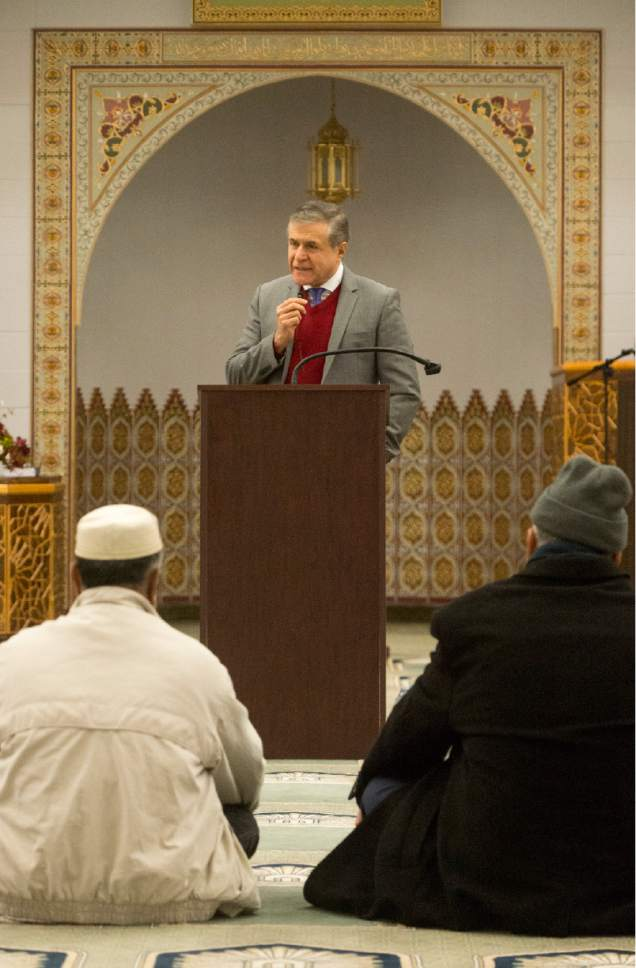 Rick Egan  |  The Salt Lake Tribune  Khosrow Semnani says a few words before introducing Rep. Jason Chaffetz, at the Khadeeja Islamic Center, Monday, December 14, 2015.