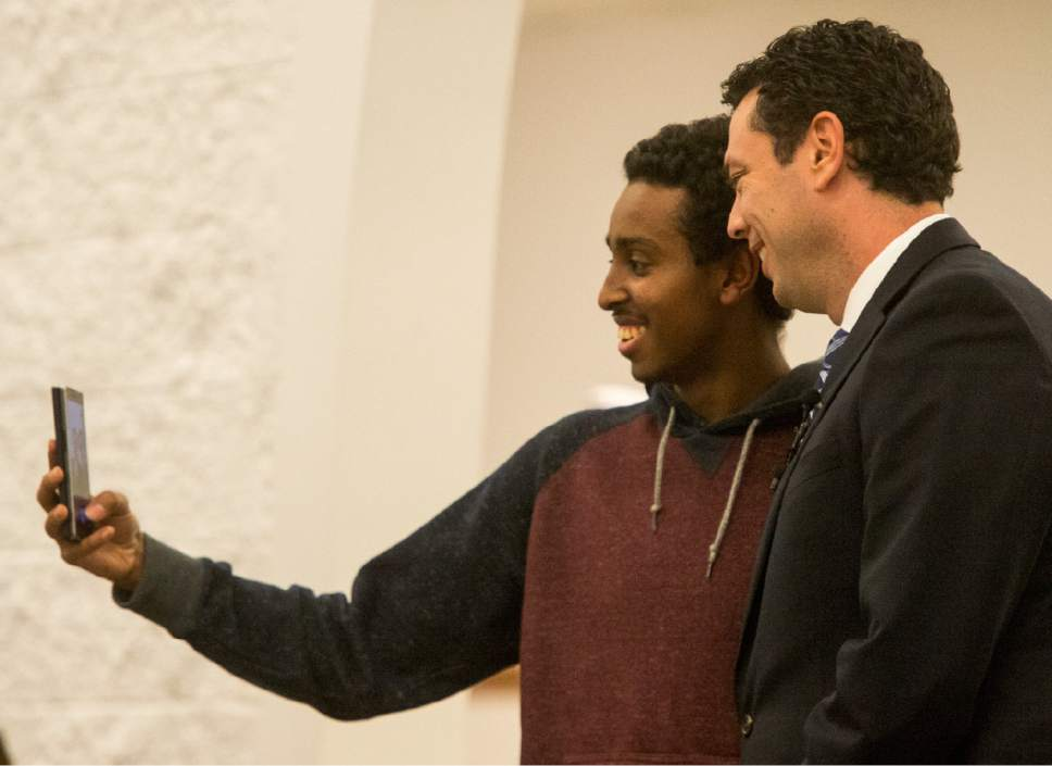 Rick Egan  |  The Salt Lake Tribune  Mikhail Ahmed takes a selfie with Rep. Jason Chaffetz at the Khadeeja Islamic Center, Monday, December 14, 2015.