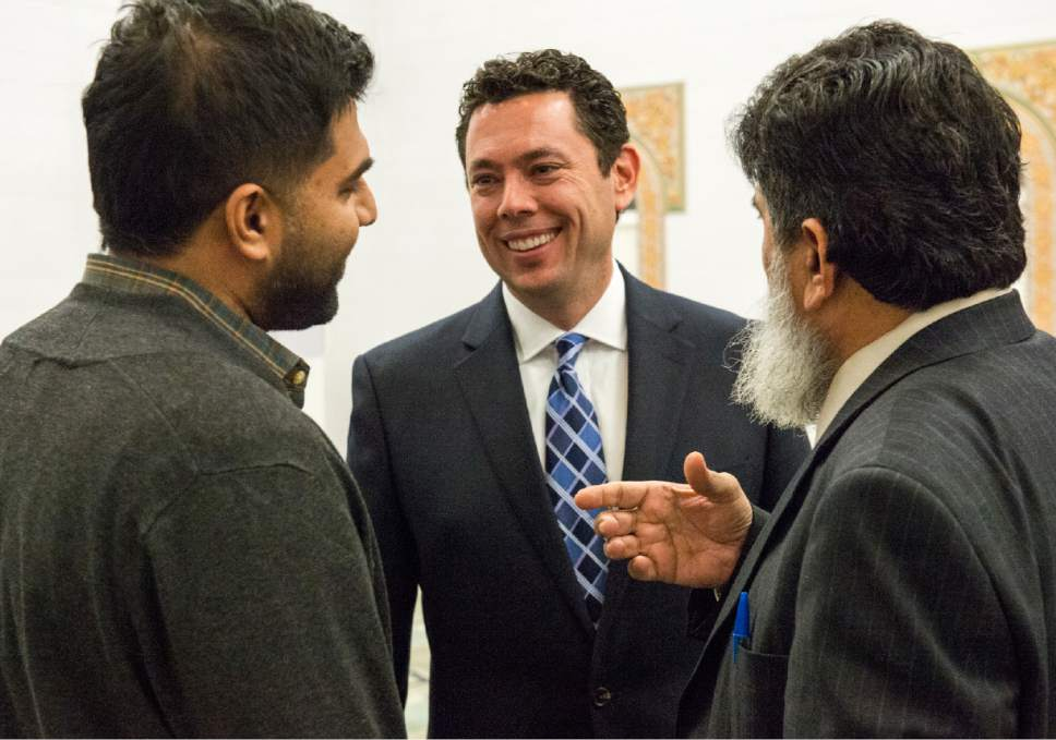 Rick Egan  |  The Salt Lake Tribune  Avais Ahmed (left) and  Abdul Afridi, Trustee of the Islamic Society of Greater Salt Lake (right) talk to Rep. Jason Chaffetz at the Khadeeja Islamic Center, Monday, December 14, 2015.