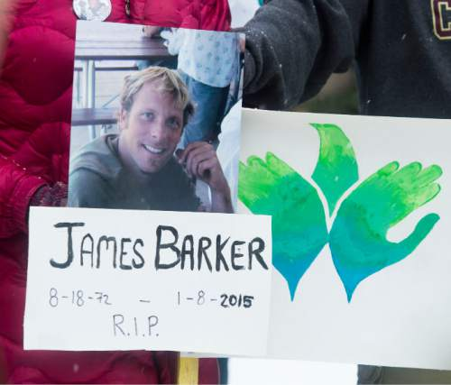 Steve Griffin     The Salt Lake Tribune  Heidi Keilbaugh, the partner of James Dudley Barker who was shot and killed by a Salt Lake City police officer, talks to the media from the yard of the avenues home where Barker was killed during a vigil to commemorate the one-year anniversary of Barker's death in Salt Lake City, Friday, January 8, 2016.