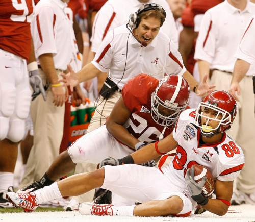 Alabama head coach Nick Saban yells at Alabama defensive back Ali Sharrief (26) after he tackled Utah wide receiver Freddie Brown (88) as the Utes face Alabama in the 4th quarter of 75th annual Sugar Bowl in New Orleans, Friday, January 2, 2009.  Chris Detrick/The Salt Lake Tribune