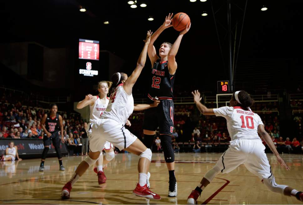 Utah forward Emily Potter (12) shoots against Stanford during the first half of an NCAA college basketball game Friday, Jan. 8, 2016, in Stanford, Calif.  (AP Photo/Marcio Jose Sanchez)