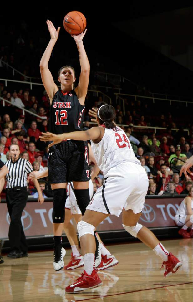 Utah forward Emily Potter (12) shoots over Stanford forward Erica McCall (24) during the first half of an NCAA college basketball game Friday, Jan. 8, 2016, in Stanford, Calif.  (AP Photo/Marcio Jose Sanchez)