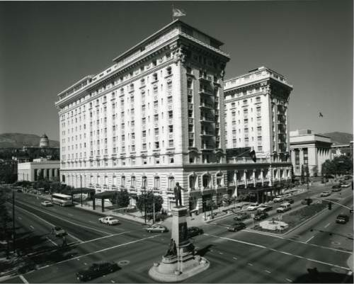 file photo  |  The Salt lake Tribune  The Hotel Utah stands at the corner of South Temple and Main Street in this 1985 photo.