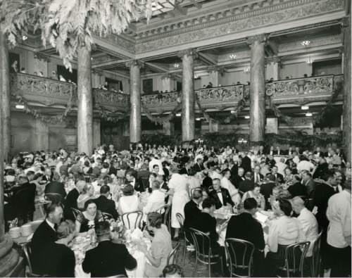 file photo  |  The Salt lake Tribune  This undated photo shows a large banquet in the lobby of the Hotel Utah.