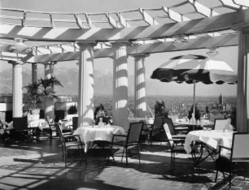 At one time, the 10th floor of the Hotel Utah was an open-air restaurant called the Starlite Gardens. Besides food, there was music, dancing and of course, breathtaking views. Courtesy Desert Book