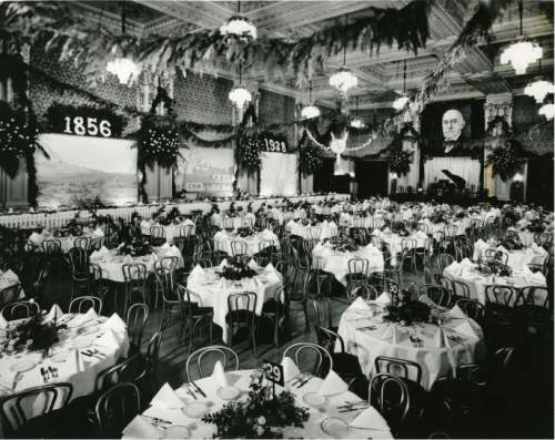 file photo  |  The Salt lake Tribune  A large portait of LDS Church President Heber J. Grant hangs in a banquet hall in 1938.