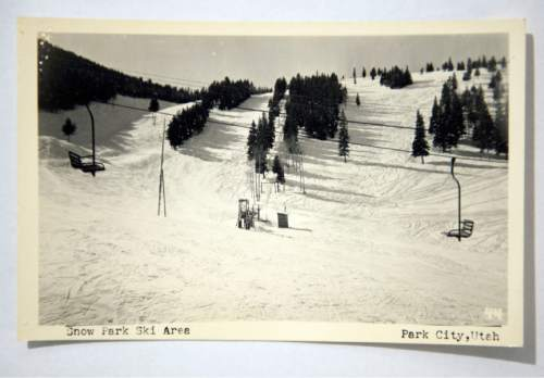 Photo courtesy of the Otto Carpenter family  These ski runs at Snow Park about 1950  are much the same today at what is now caller Deer Valley. Bob Burns and Otto Carpenter felled the trees for the runs. They used  the timbers to build chairlift towers.