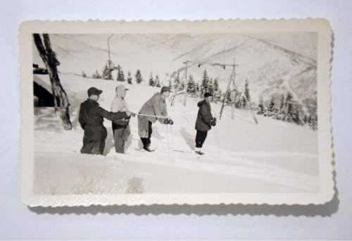 Photo courtesy of the family of Otto Carpenter  Some of Park City's earliest powder hounds check out a run at Snow Park, circa 1950. It was the first ski resort in Park City and was built by Bob Burns and Otto Carpenter. Mel Fletcher ran the ski school.