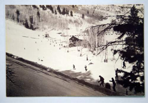 Photo courtesy of the Otto Carpenter family  The original Snow Park Lodge about 1950 as seen from atop one of the hand-made chairlifts built by Bob Burns and Otto Carpenter. Mel Fletcher was the ski school director.