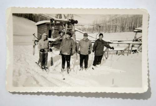 Photo courtesy of the Otto Carpenter family  Snow Park regulars around 1950 check out the snw at what eventually would become Deer Valley.Bob Burns built the resort with Otto Carpenter.