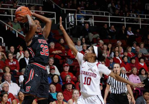 Utah's Tanaeya Boclair (32) shoots over Stanford's Briana Roberson (10) during the first half of an NCAA college basketball game Friday, Jan. 8, 2016, in Stanford, Calif.  (AP Photo/Marcio Jose Sanchez)