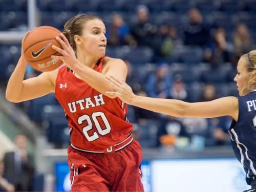 Rick Egan  |  The Salt Lake Tribune  Utah Utes guard Katie Kuklok (20) is guarded by Brigham Young Cougars guard Makenzi Morrison Pulsipher (23), in basketball action, BYU vs. Utah, in the Marriott Center, Saturday, December 12, 2015.