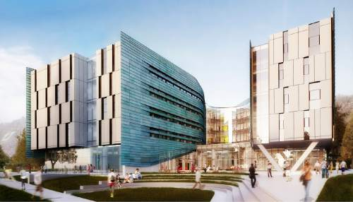 Courtesy  |  University of Utah  Renderings of the exterior of the new Lassonde Studios Building.