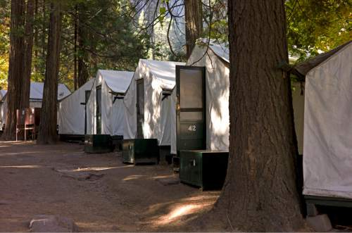 FILE -- In this file photo from Sunday Oct. 23, 2011, tents are seen in Curry Village in Yosemite National Park, Calif. The names of iconic hotels and other facilities in the world-famous Yosemite National Park will soon change in an ongoing battle over who owns the intellectual property, park officials said Thursday, Jan. 14, 2016. The famed Ahwahnee Hotel will become the Majestic Yosemite Hotel, and Curry Village will become Half Dome Village, said park spokesman Scott Gediman. (AP Photo/Ben Margot)