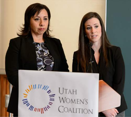 Trent Nelson  |  The Salt Lake Tribune Representative Angela Romero and Stephanie Pitcher, Coordinator of the new Utah Womenís Coalition, answer questions at a press conference where nonprofit organizations, legislators, and community advocates announced the organization of the Utah Womenís Coalition and its legislative agenda in Salt Lake City, Wednesday January 13, 2016.