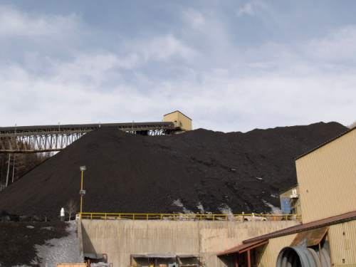 Courtesy     Utah Geological Survey  A large stockpile of coal has grown up around surface facilities at the Skyline mine on the Emery/Carbon county border. The lack of coal-shipping facility on the West Coast has stymied the prospects of Utah's mining industry to ship its product to Asia's ravenous markets.