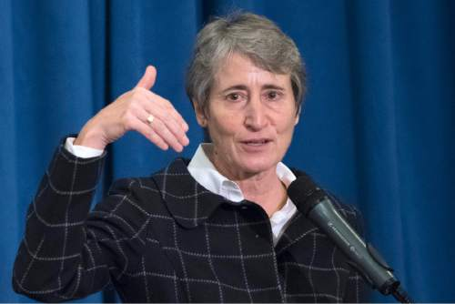 In this photo taken Nov. 10, 2015, Interior Secretary Sally Jewell speaks at the Interior Department in Washington. The Obama administration says it's halting new coal leases on federal lands until it completes a comprehensive review. Jewell said Friday, Jan. 15, 2016, that companies will continue to be able to mine coal reserves already under lease.  (AP Photo/Sait Serkan Gurbuz)