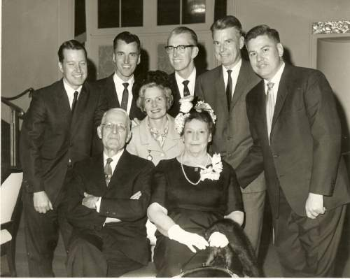 |  Fletcher Family  Harvey Fletcher (front left), with his family in 1964, when his wife, Lorena (front right), was named American Mother of the Year. They are surrounded by their children (left to right) Robert, Harvey J., James, Stephen, Paul, and Phyllis (middle).