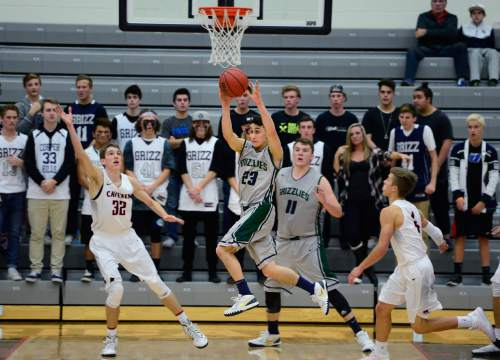 Scott Sommerdorf   |  The Salt Lake Tribune Copper Hills G Preston Sanchez looks to pass after grabbing a rebound as Copper Hills defeated American Fork 64-61 in the Elite 8 semi-finals, Friday, December 11, 2015.