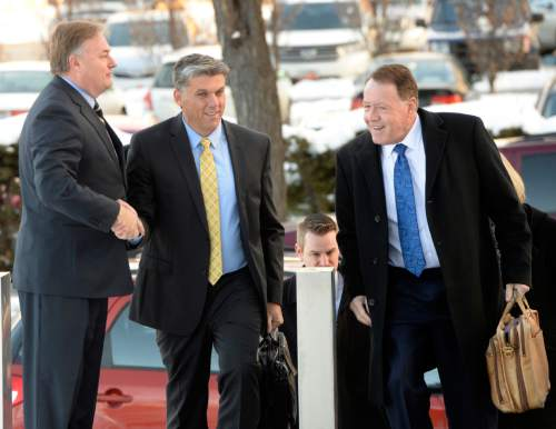 Al Hartmann  |  The Salt Lake Tribune San Juan County Commissioner Phil Lyman, middle, walks to sentencing hearing in Federal Court in Salt Lake City in December. The Utah attorney general's office confirmed that there is an ongoing criminal investigation of Lyman.