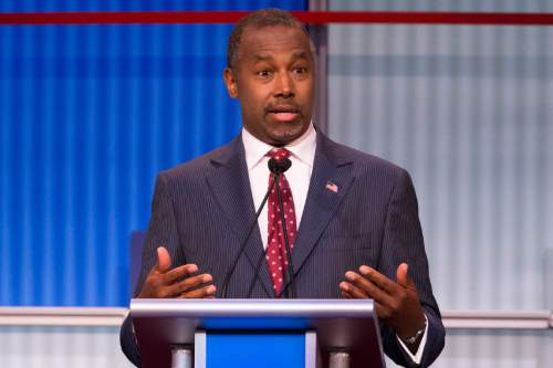 Republican presidential candidate Ben Carson speaks during the first Republican presidential debate at the Quicken Loans Arena Thursday, Aug. 6, 2015, in Cleveland. (AP Photo/John Minchillo)