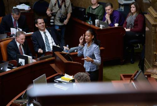 Scott Sommerdorf   |  The Salt Lake Tribune Congresswoman Mia Love, R-Utah, speaks in the House of Representatives, Wednesday, Feb. 18, 2015.