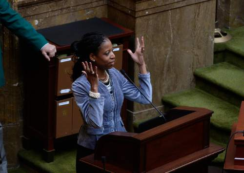 Scott Sommerdorf   |  Tribune file photo Congresswoman Mia Love, R-Utah, speaks to the House of Representatives last year. Love passed her first bill in the U.S. House.