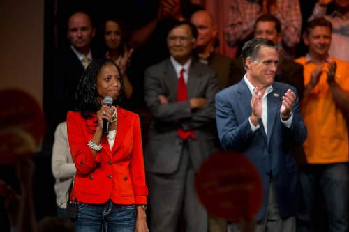 Trent Nelson  |  The Salt Lake Tribune Mitt Romney at a rally to support Mia Love, who is running as a Republican in Utah's 4th Congressional District. Wednesday October 8, 2014 at Thanksgiving Point.