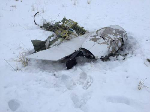 Courtesy     Utah County Sheriff's Office  Two people died after a two-engine plane crashed Monday near Cedar Fort.