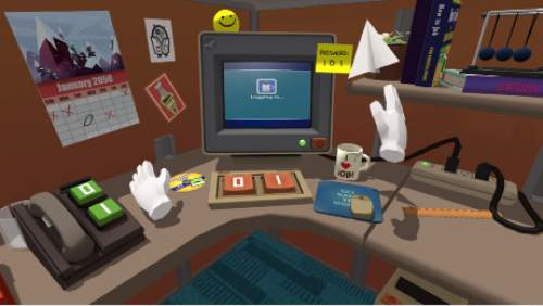 "The act of being a cubicle worker is relived, using storytelling, comedy and game-playing mechanics, in ""Job Simulator,"" one of the virtual-reality works to be shown in the New Frontier program of the 2016 Sundance Film Festival. Owlchemy Labs  