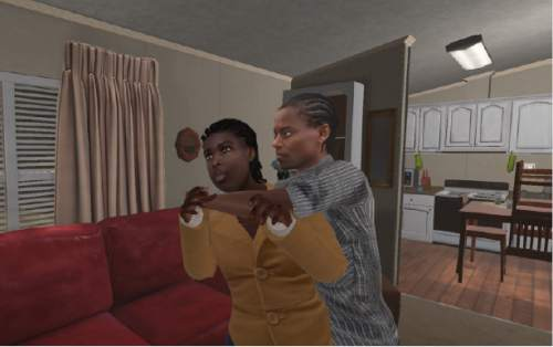 "A real-life incident of domestic violence is re-enacted, incorporating computer animation and the original 911 calls, in director Nonny de la PeÒa's ""Kiya,"" one of the virtual-reality works to be shown in the New Frontier program of the 2016 Sundance Film Festival. Courtesy Sundance Institute"