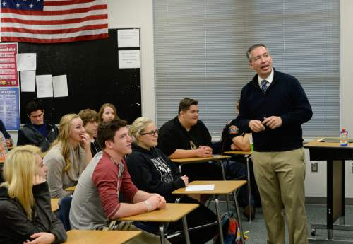 Francisco Kjolseth | The Salt Lake Tribune Students at Riverton High School get a firsthand lesson in the legislative process as State Representative Dan McCay steps in to teach Cliff Streiby's U.S. Government class. McCay figured students could benefit from his experience and learn about the upcoming legislative session, which begins on Monday.