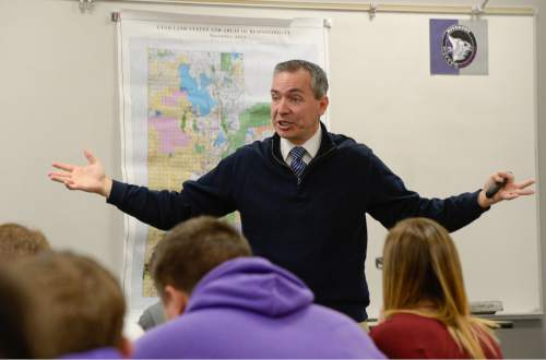 Francisco Kjolseth | The Salt Lake Tribune Students at Riverton High School get a firsthand lesson in the legislative process as State Representative Dan McCay steps in to teach Cliff Streiby's U.S. Government class on Jan. 20. McCay figured students could benefit from his experience and learn about the upcoming legislative session, which begins on Monday.