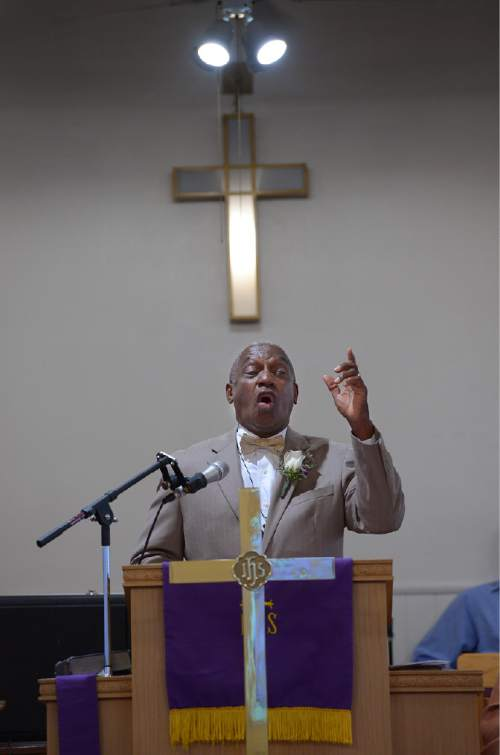 Scott Sommerdorf   |  The Salt Lake Tribune  The Rev. France Davis of Calvary Missionary Baptist spoke at an interdenominational sunrise service Easter Sunday, April 20, 2014 at the Trinity African Methodist Episcopal Church in downtown Salt Lake City. The service included members of United Methodist, Episcopal, and Calvary Baptist.