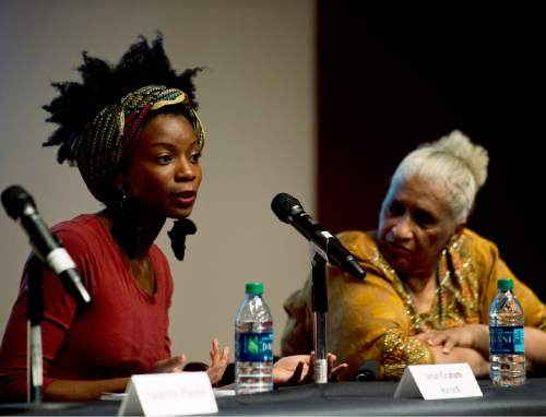 "Lennie Mahler  |  The Salt Lake Tribune  Janan Graham-Russell speaks in a panel discussion, ""Race and Mormon Women,"" at the Utah Museum of Fine Arts, Friday, Oct. 9, 2015."