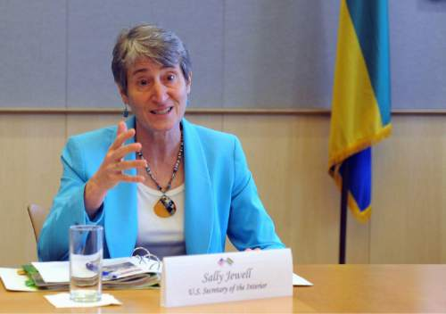 Interior Secretary Sally Jewell speaks in Libreville, Gabon, Friday, Jan. 22, 2016. The Obama administration on Friday, Jan. 22, 2016, proposed new rules to clamp down on oil companies that burn off natural gas on public land, arguing that it will reduce waste and harmful methane emissions as part of President Barack Obama's bid to curb climate change. Jewell said in a statement that natural gas should be used to power the economy, not wasted by being burned into the atmosphere. (AP Photo/Joel Bouopda Tatou)