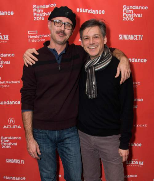 """Directors Keith Fulton, left, and Louis Pepe pose at the premiere of """"The Bad Kids"""" during the 2016 Sundance Film Festival on Friday, Jan. 22, 2016, in Park City, Utah. (Photo by Arthur Mola/Invision/AP)"""